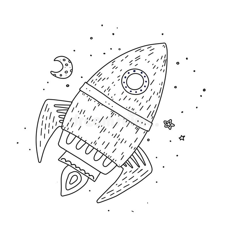 Cartoon rocket hand drawn outline illustration. Cute space shuttle clipart. Doodle spaceship. Spacecraft print. Space vector illustration