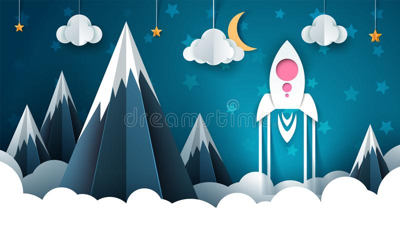 Cartoon rocket illustration. Paper mountain landscape. vector illustration