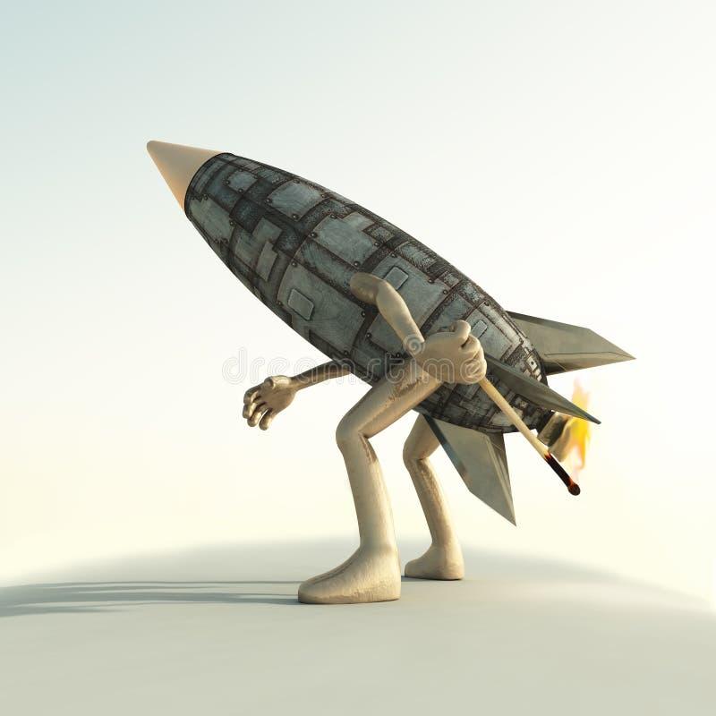Cartoon rocket at launch vector illustration