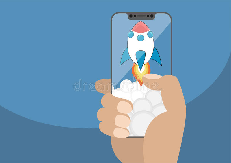 Cartoon rocket launching from frameless touchscreen with smoke. Vector illustration of hand holding modern bezel free smartphone royalty free illustration
