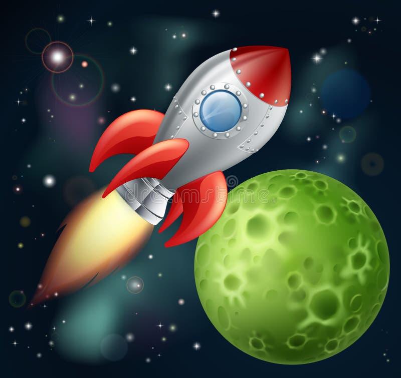 Cartoon rocket in space stock illustration