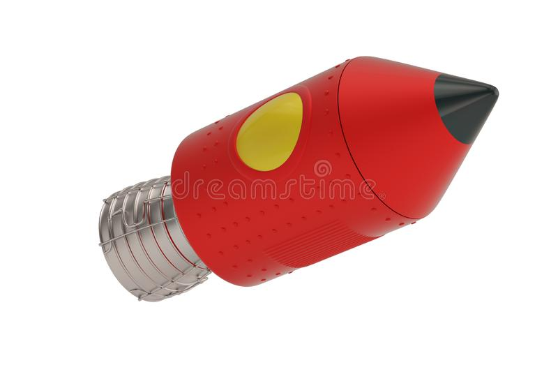 Cartoon Rocket Space Ship isolé sur fond blanc, illustration 3D illustration stock