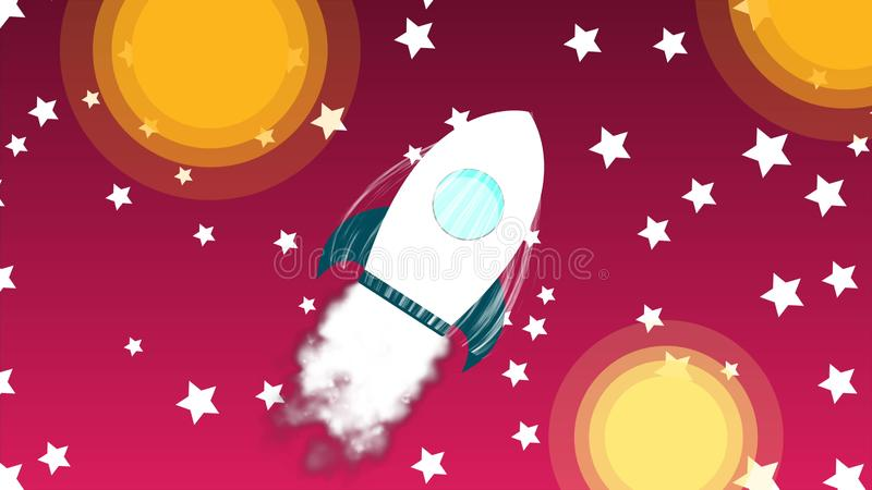 Cartoon rocket space ship with smoke launch into sky with stars, space exploration, art design startup creative idea, 3d stock illustration