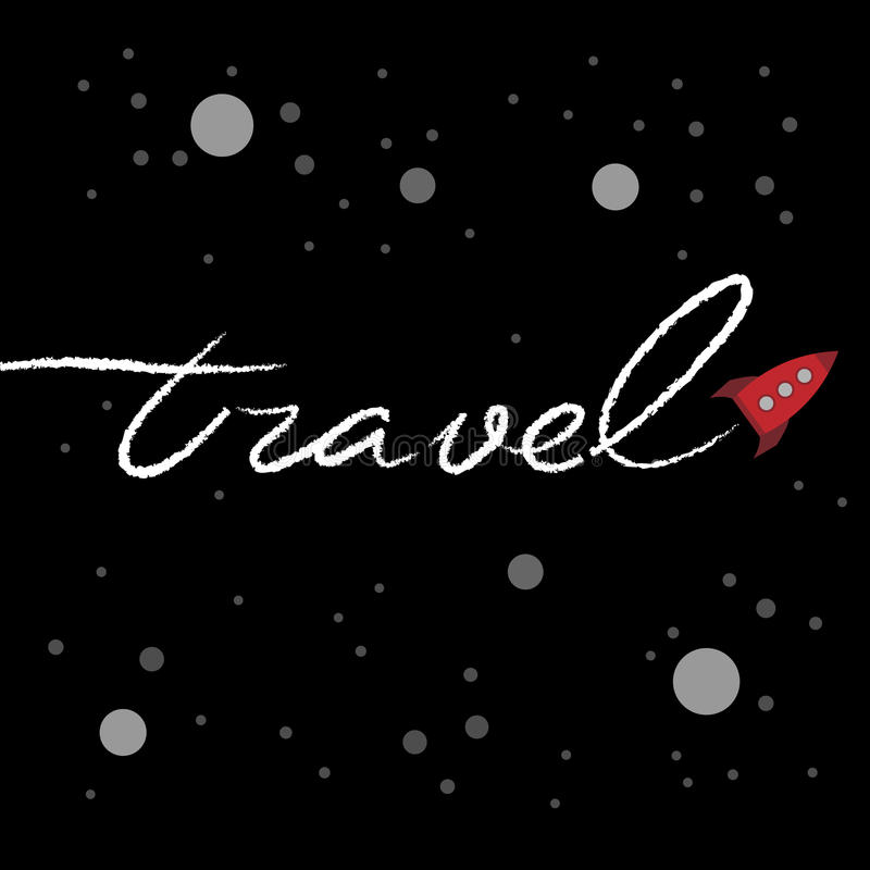 Download Cartoon Rocket Writing A Word Travel In The Space Stock Vector