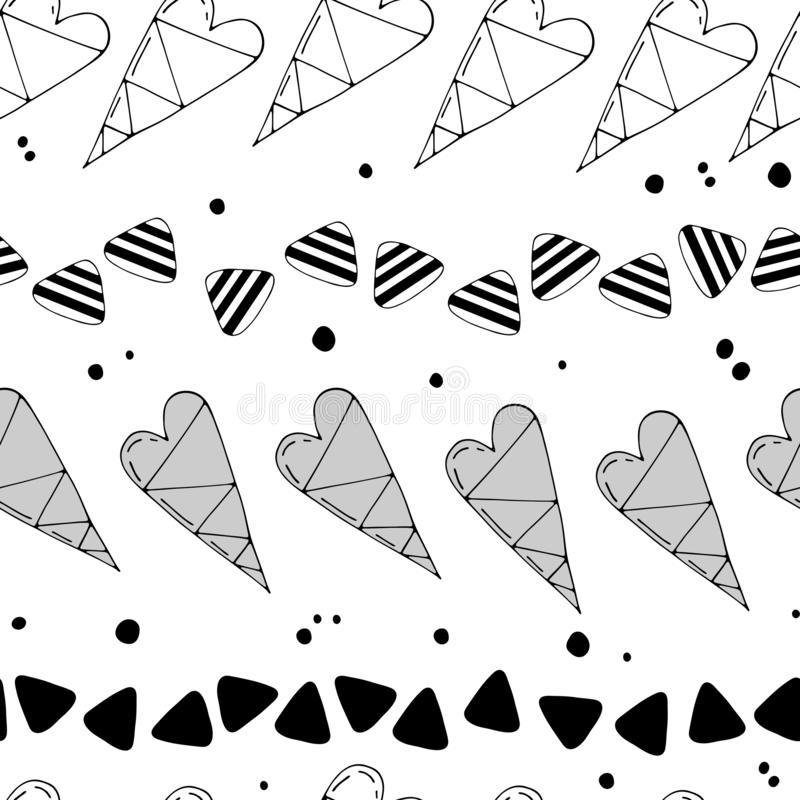 Cartoon romantic seamless repeating vector pattern with hearts and cute decorative elements. stock illustration