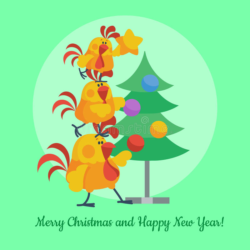 Cartoon Roosters Decorating Christmas Tree Vector. Cartoon roosters family decorating christmas tree. Cute hanging toys on fir flat vector. Merry christmas and royalty free illustration