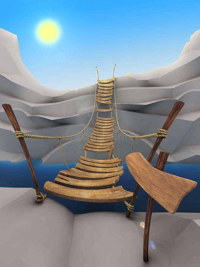 Cartoon rope bridge vector illustration