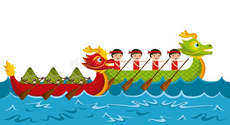 Cartoon rowing team chinese rice dumpling festival stock illustration