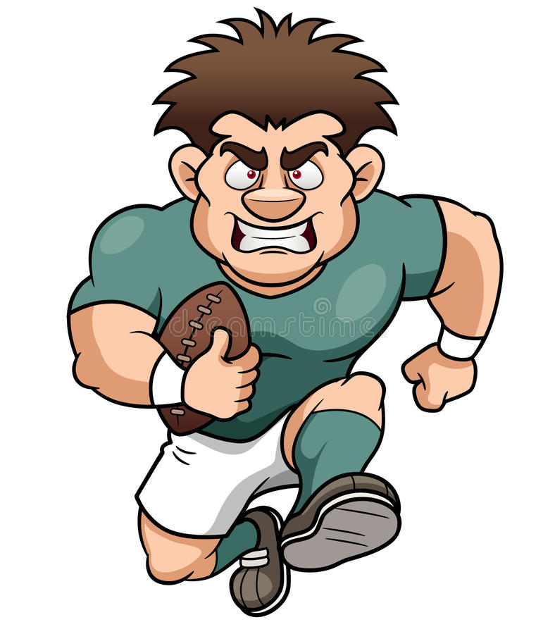Cartoon Rugby player stock vector. Illustration of smile