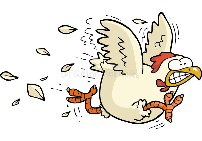 Cartoon running chicken. Cartoon doodle running chicken on a white background vector illustration stock illustration