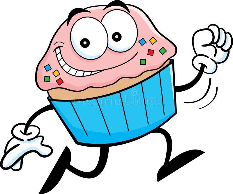 Cartoon running cupcake. Cartoon illustration of a running cupcake stock illustration