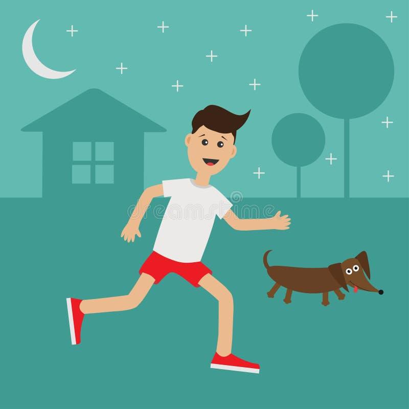 Cartoon running guy Dachshund dog. Night summer time. House, tree silhouette. Stars shining. Cute run boy Jogging man Runner outs. Cartoon running guy Dachshund royalty free illustration