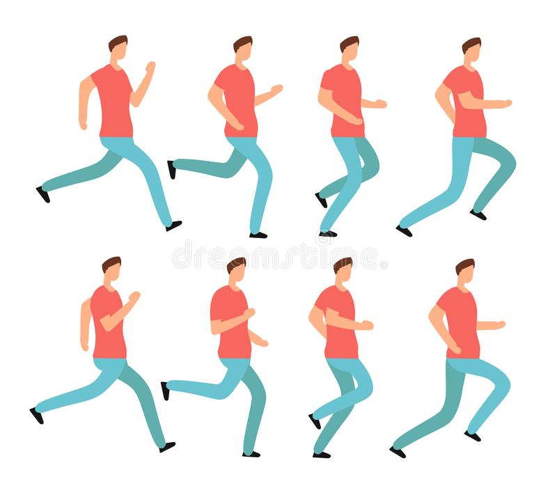 Cartoon running man in casual clothes. Young male jogging. Animation frames sequence isolated vector set royalty free illustration