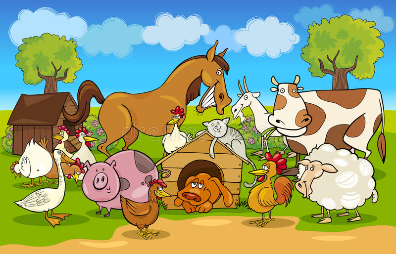 Cartoon rural scene with farm animals stock illustration
