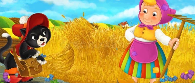 Cartoon rural scene with royal cat visiting farmer girl royalty free illustration
