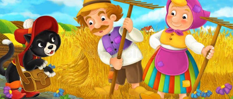 Cartoon rural scene with royal cat visiting farmers vector illustration