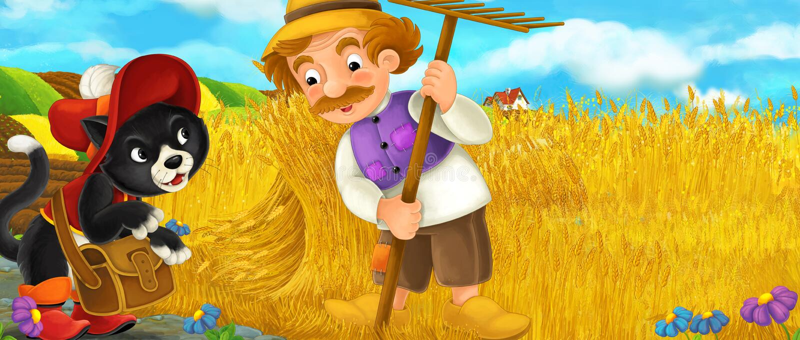 Cartoon rural scene with royal pair visiting farmers vector illustration