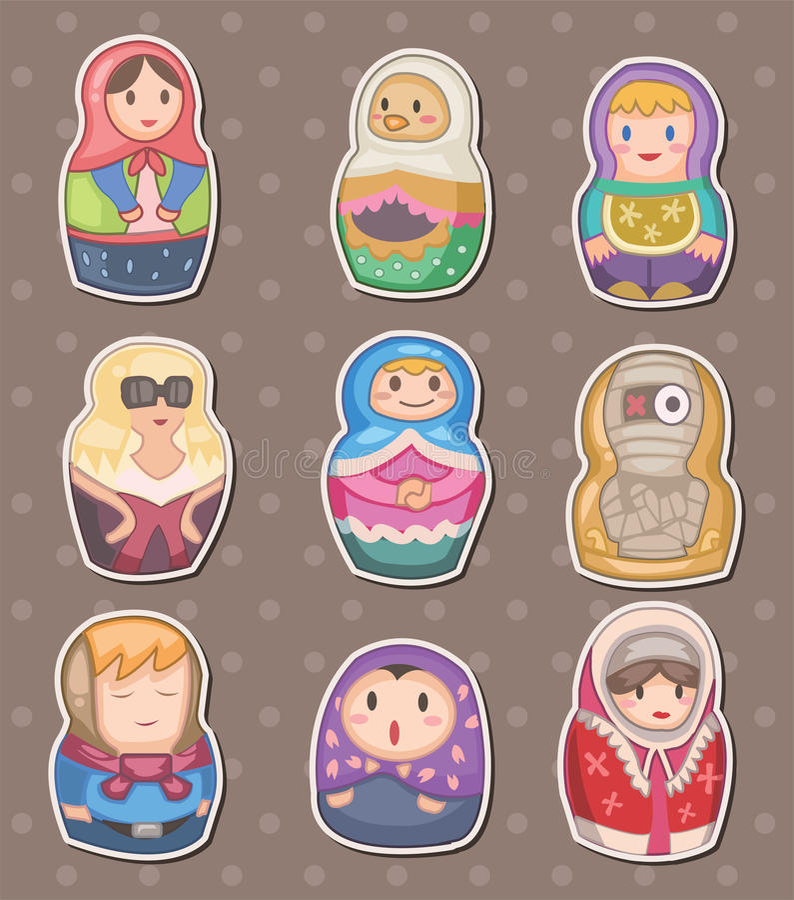 Cartoon Russian Stickers Stock Photos