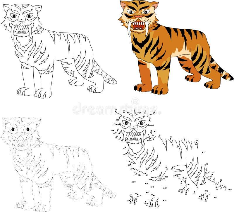 cartoon saber-toothed tiger  vector illustration  dot to dot gam stock vector