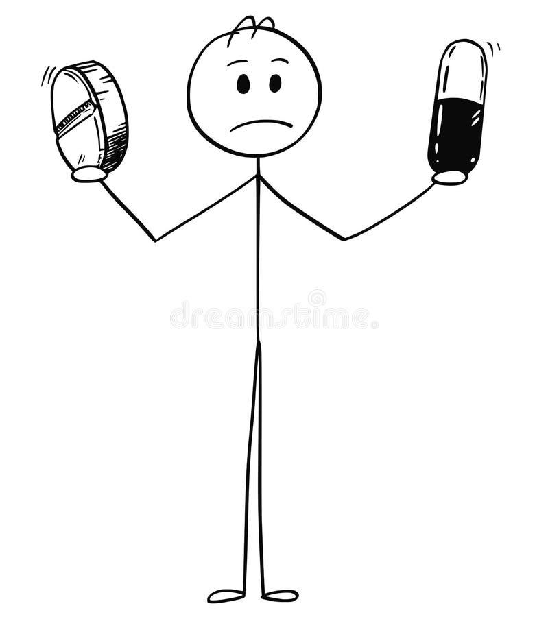 Cartoon of Sad, Ill or Depressed Man or Businessman Holding Two Pills. Cartoon stick man drawing conceptual illustration of sad, ill, depressed or confused stock illustration
