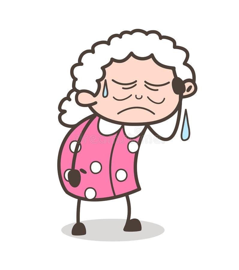 Cartoon Sad Old Lady Crying Vector Illustration Stock Illustration Illustration Of Woman Cartoon 101741955