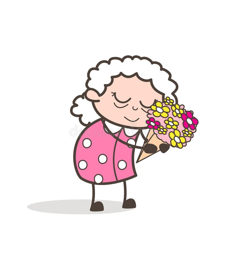 Cartoon Sad Old Lady Remembering Memories Vector Illustration royalty free illustration