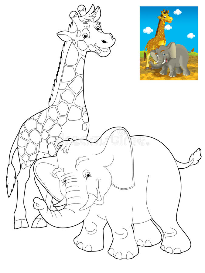 Download Cartoon Safari - Coloring Page For The Children Stock Illustration - Image: 32176484