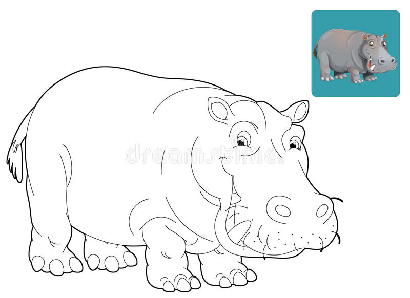 cartoon safari coloring page for the children stock illustration