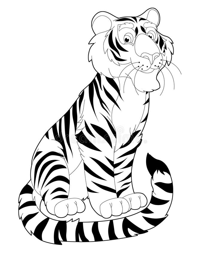 Cartoon Safari Coloring Page Illustration For The