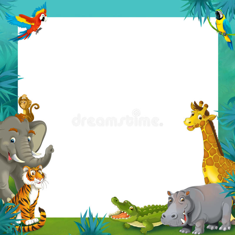 Free Cartoon Safari - Jungle - Frame Border Template - Illustration For The Children Royalty Free Stock Photography - 32336827