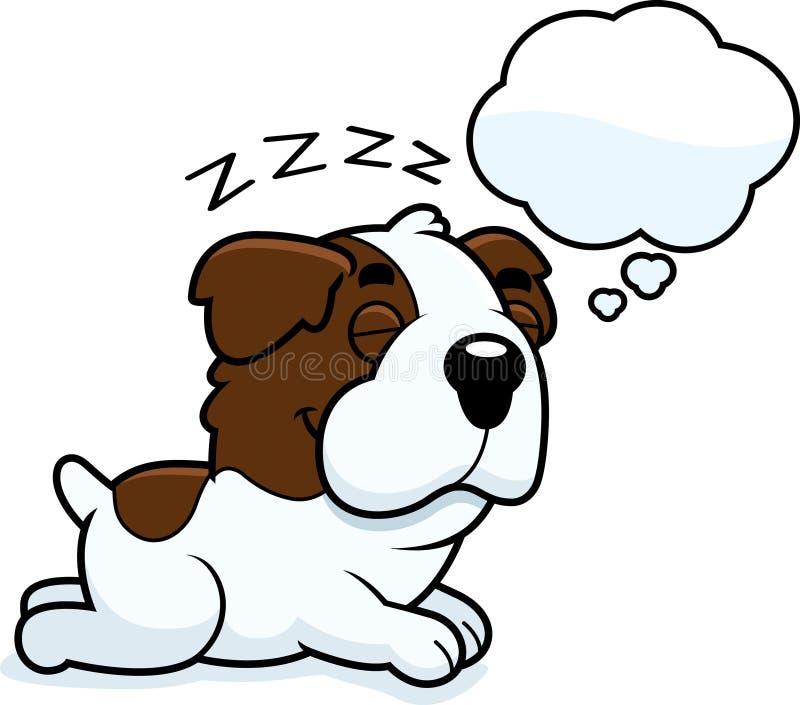Cartoon Saint Bernard Dreaming. A cartoon illustration of a Saint Bernard sleeping and dreaming stock illustration