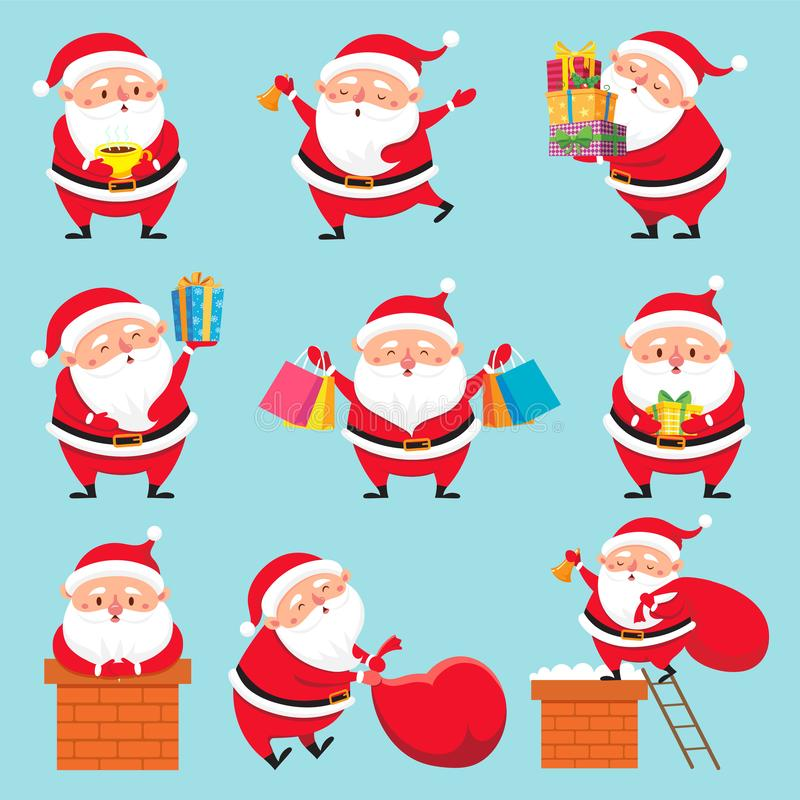 Cartoon Santa character. Christmas cute grandfather Claus characters for Xmas holidays greeting card vector set. Cartoon Santa character. Christmas cute stock illustration