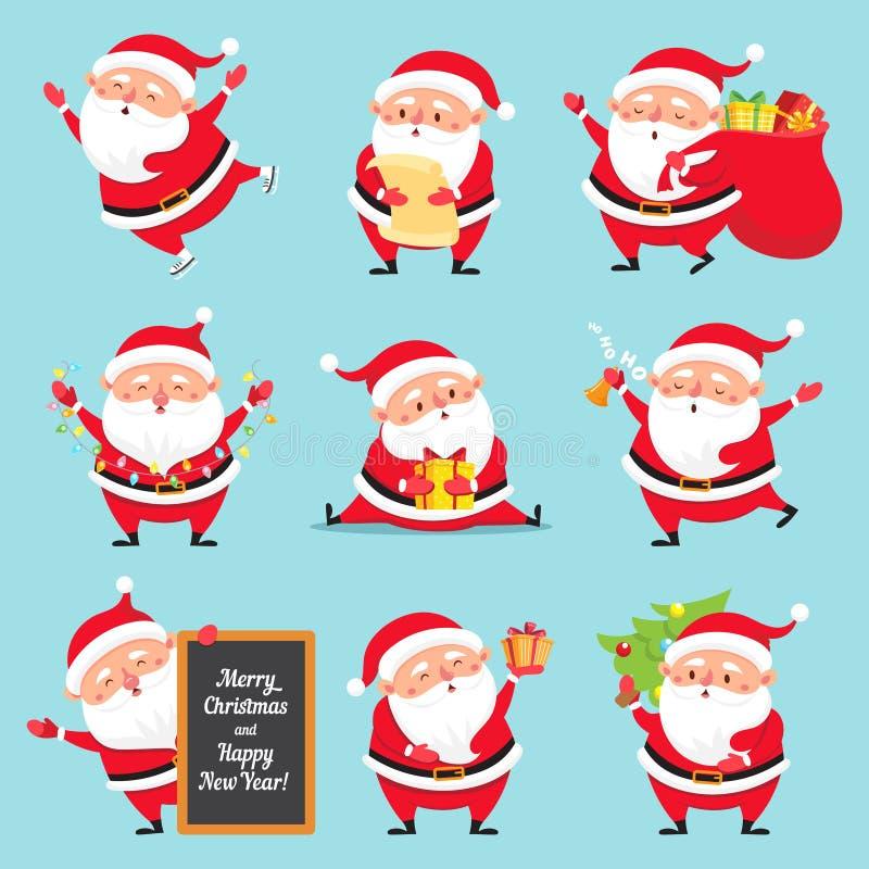 Cartoon Santa Claus. Christmas holiday greeting card character. Funny winter holidays characters flat vector set vector illustration