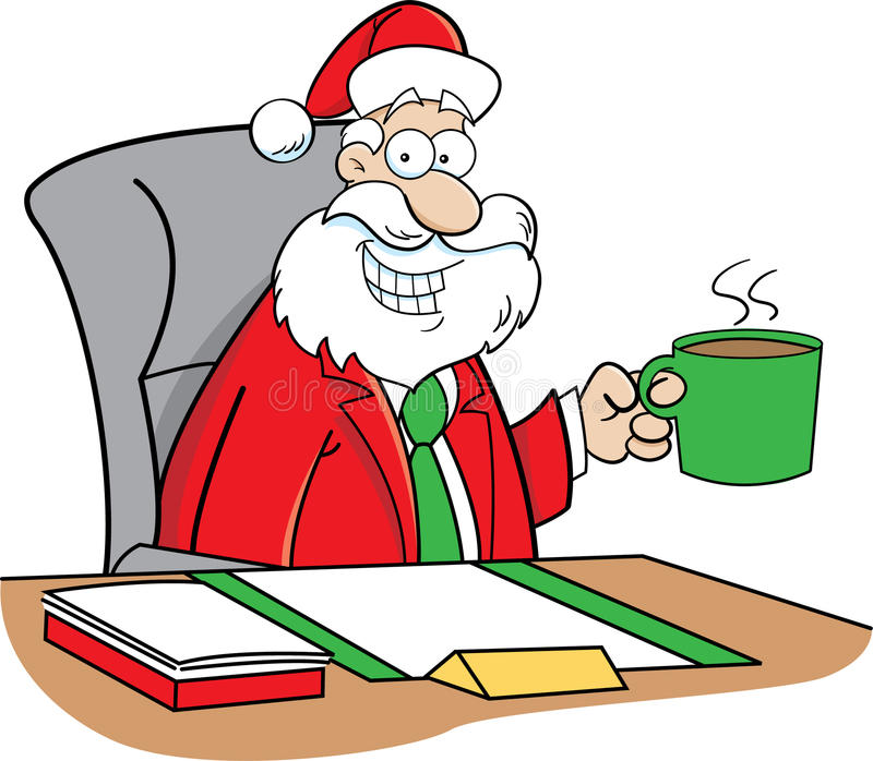 Cartoon santa claus drinking coffee stock vector