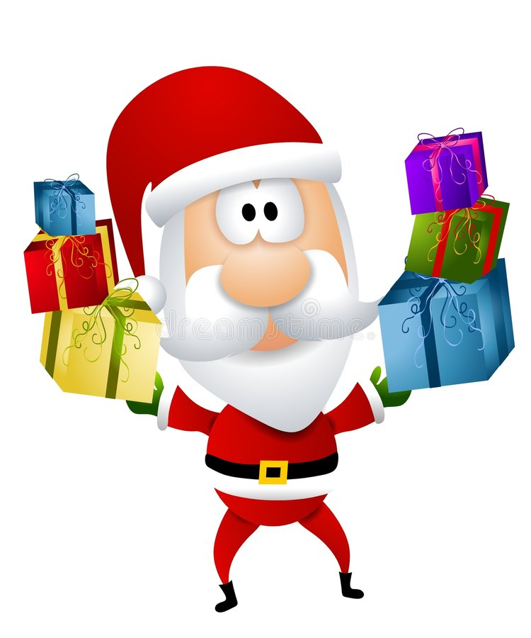 Cartoon Santa Claus Gifts. A clip art illustration featuring a cartoonish Santa Claus holding gifts in each hand stock illustration