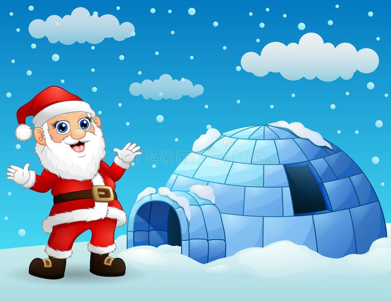Cartoon santa claus with igloo in winter stock illustration