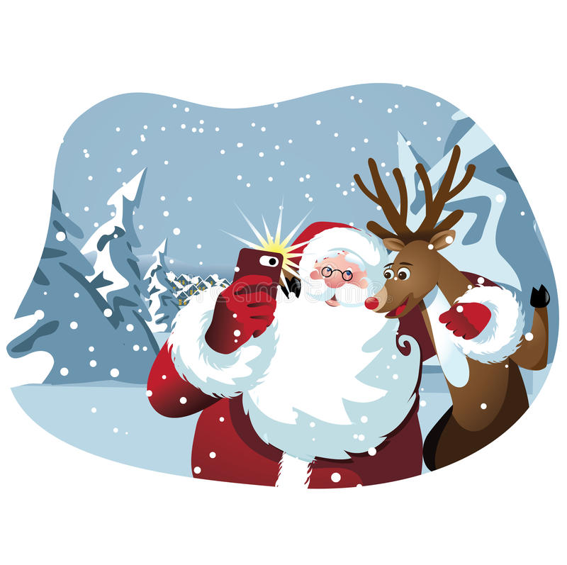 Cartoon Santa Claus and reindeer take a selfie stock images