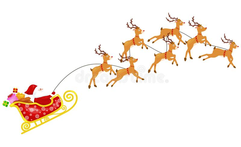 Cartoon santa claus with seven reindeers in carriage vector illustration