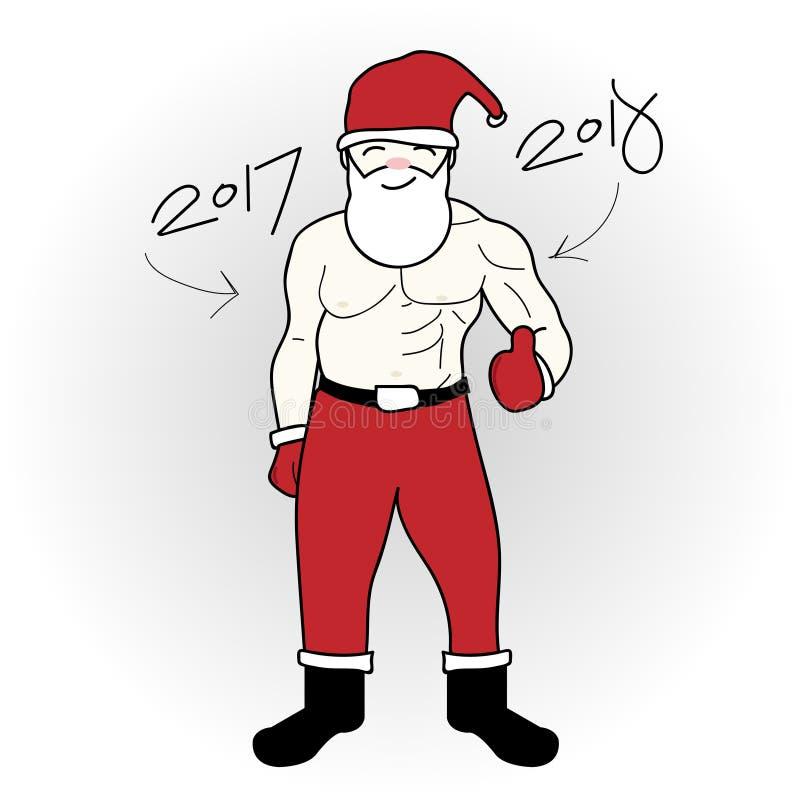2018 Cartoon Santa claus Show change Build Muscles stock photography