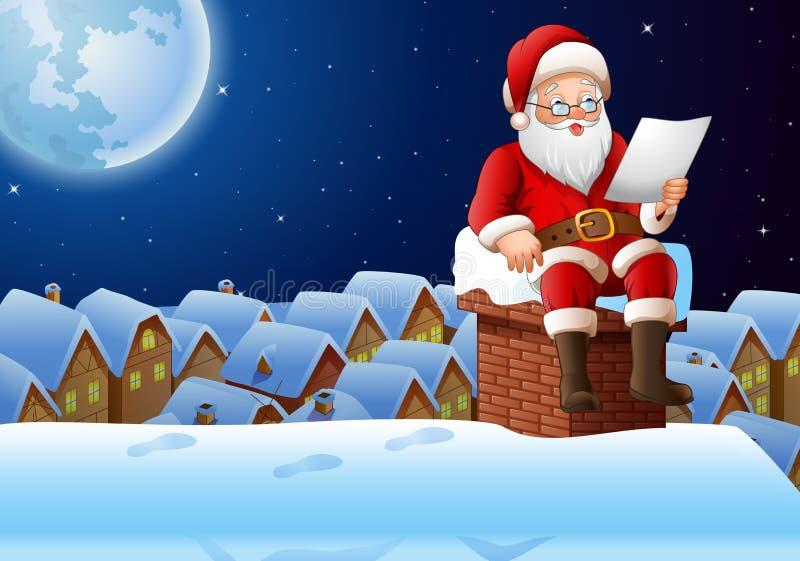 Cartoon Santa Claus sitting at chimney and reading a letter. Illustration of Cartoon Santa Claus sitting at chimney and reading a letter vector illustration