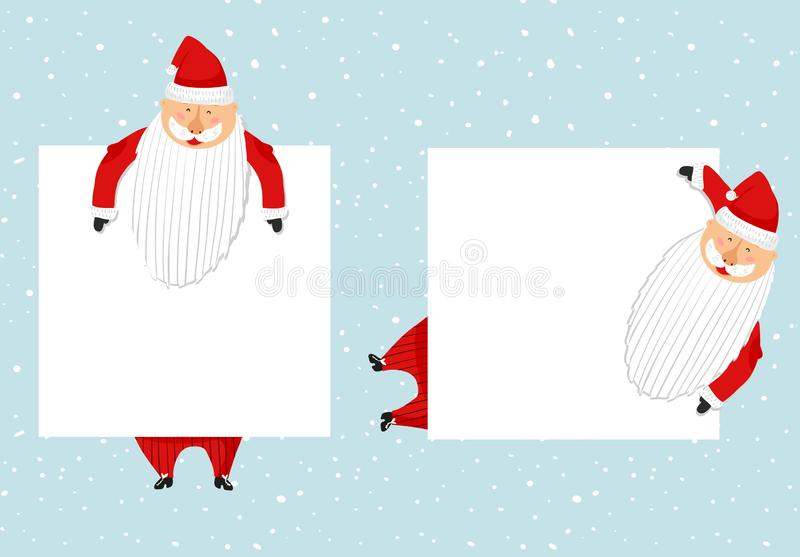 Cartoon Santa Claus templates set. Funny happy Santa character, gift, present, glad and greeting. For new year. Invitation, cards, banners, tags and labels vector illustration