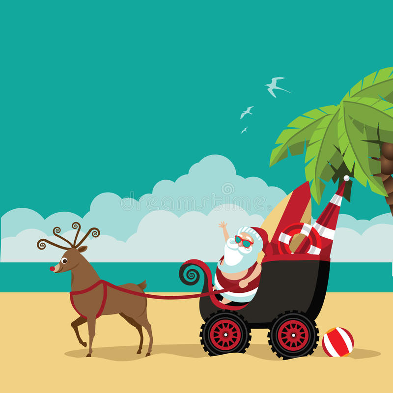 Cartoon Santa Claus waves hello from his dune buggy. On a tropical beach. EPS 10 vector illustration royalty free illustration