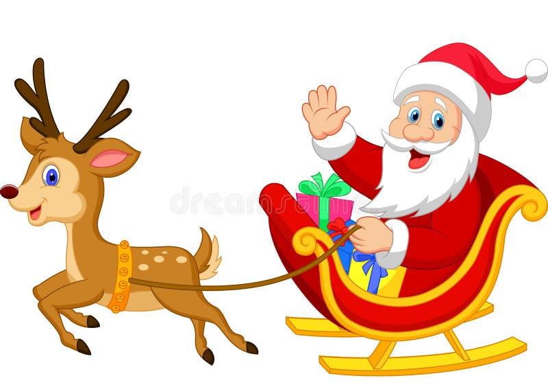 Cartoon Santa drives his sleigh stock illustration