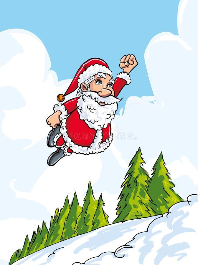 Cartoon Santa flying like super above snowy landscape