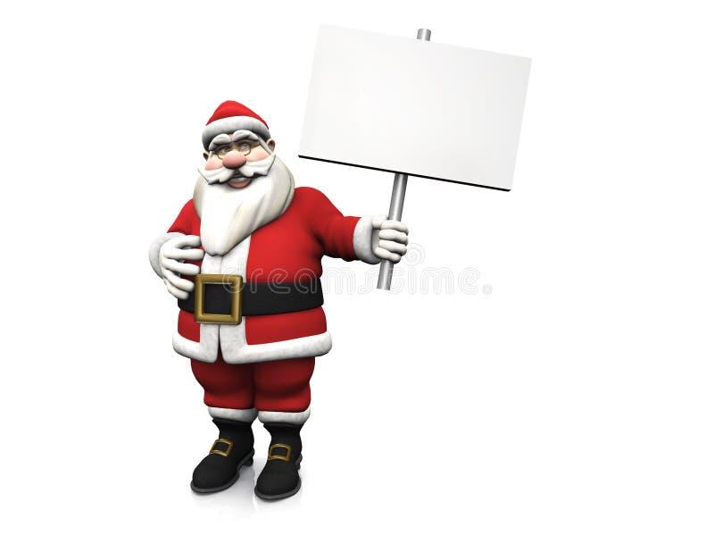 Cartoon Santa holding blank sign. A smiling cartoon Santa Claus holding a blank sign in his hand. White background stock illustration