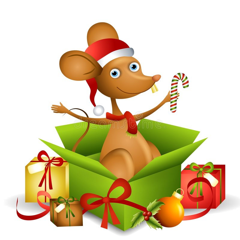 Cartoon Santa Mouse 2. An illustration featuring a cartoon mouse wearing Santa hat and scarf sitting in an open gift box with candy cane and other presents stock illustration
