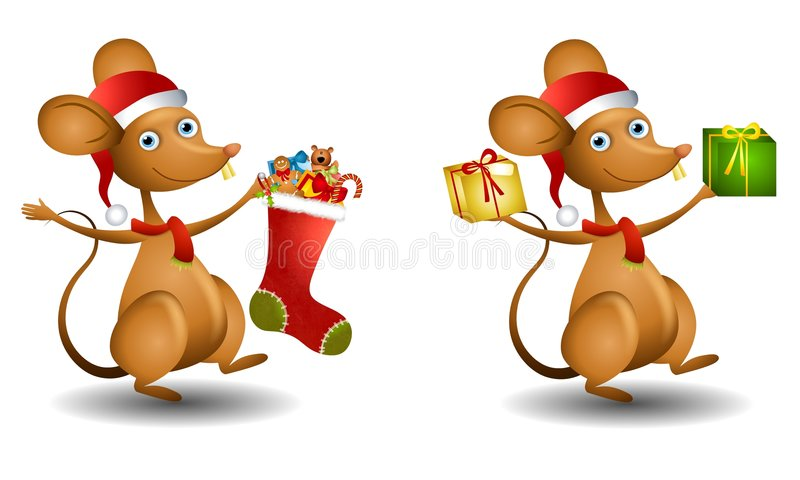 Cartoon Santa Mouse. An illustration featuring a cartoon mouse wearing Santa hat and scarf carrying gifts and stocking vector illustration