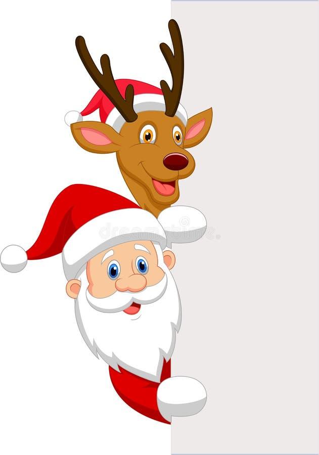Cartoon Santa and red nose reindeer vector illustration