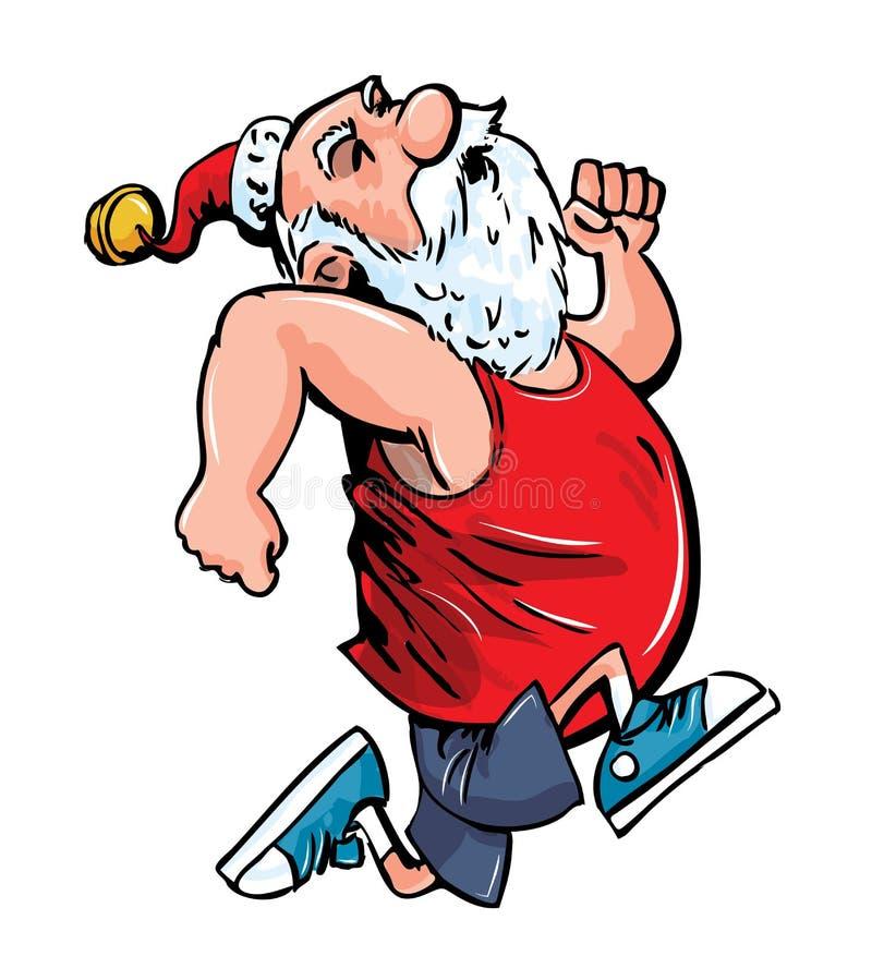 Cartoon Santa running for exercise. stock illustration
