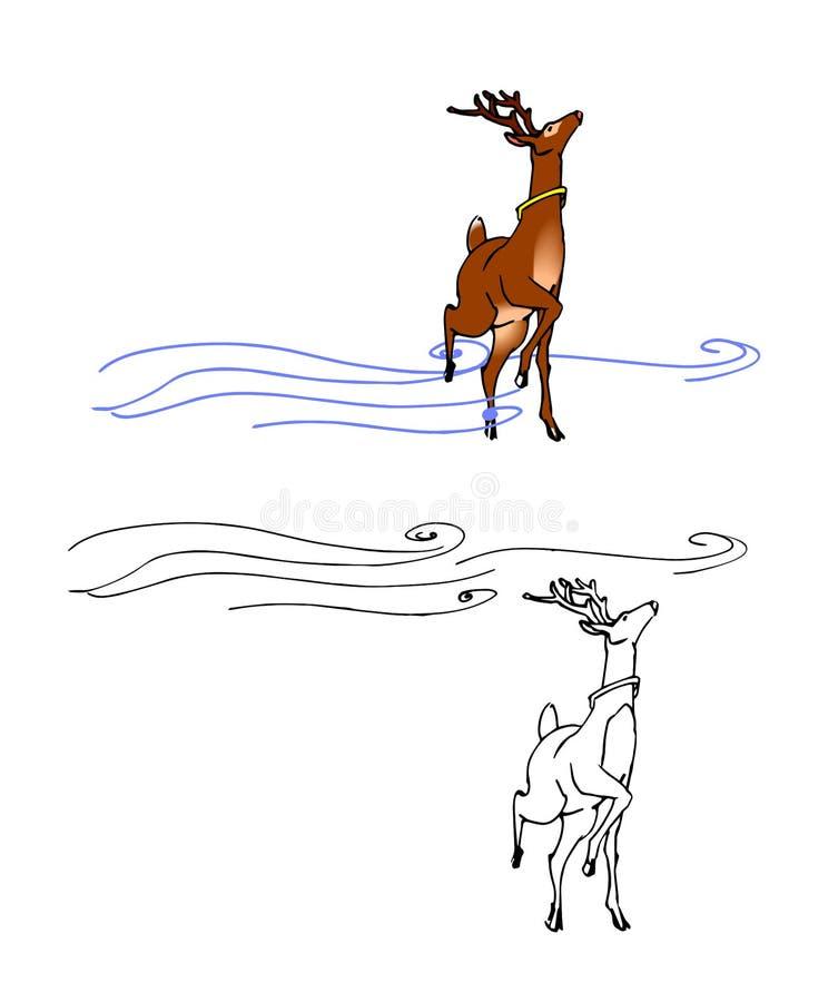 Cartoon Santa`s deer and snowstorm stock illustration